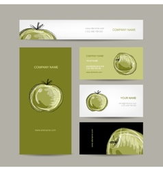Set of business cards design apple sketch vector