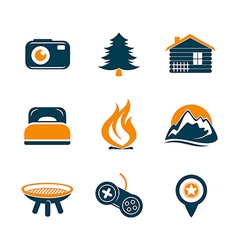 Travel and outdoor icons set vector
