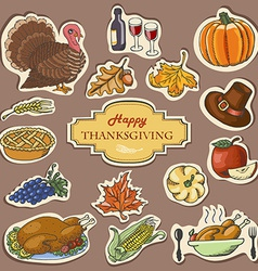 Set of sketch doodle thanksgiving label hand draw vector