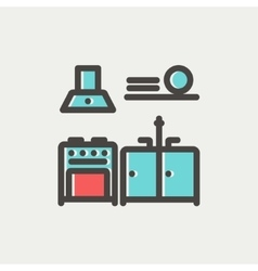 Kitchen interior thin line icon vector
