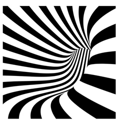 Tunnel vortex in concentric black and white stripe vector
