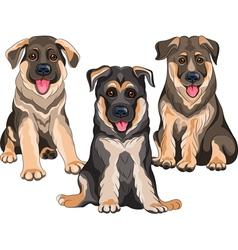 Smiling puppies dog german shepherd vector