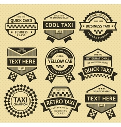 Taxi cab set insignia old style vector