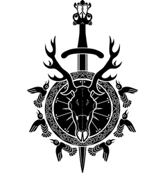 Deer skull sword and shield north viking vector