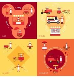 Street food flat set vector