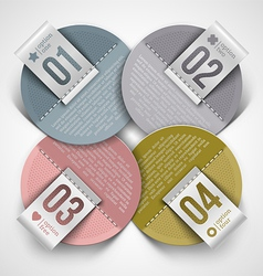 Numbered infographics round paper labels vector