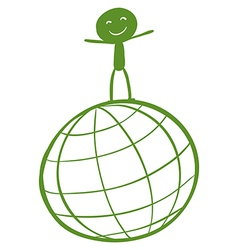A globe with a child at the top vector