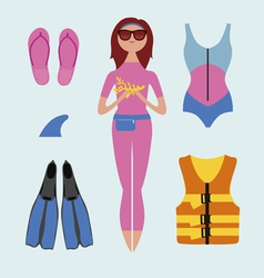 Water sport fashion set with beutiful girl vector