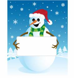 Snowman with blank board vector