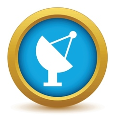 Gold satellite antenna icon vector