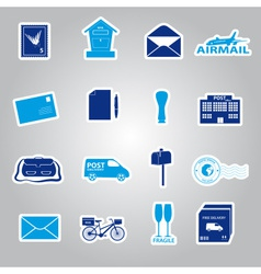 Post and mail blue stickers set eps10 vector