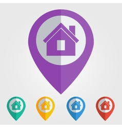 Flat pin with home icon vector