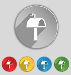 Mailbox icon sign symbol on five flat buttons vector