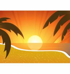 Sunset beach and palm trees vector