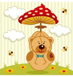 Teddy bear with amanita vector