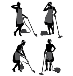Cleaning lady with vacuum cleaner vector