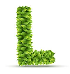 Letter l alphabet of green leaves vector