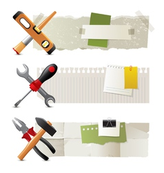 Banners with working tools vector