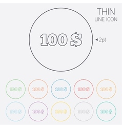 100 dollars sign icon usd currency symbol vector