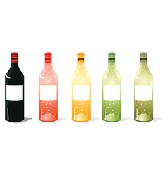 Multi color wine bottles pack vector
