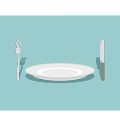 Cutlery knife and fork plate on a green background vector