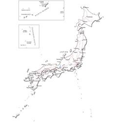 Japan black white map vector