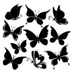 Butterflies black silhouettes vector