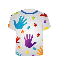 T shirt template- colorful hands vector