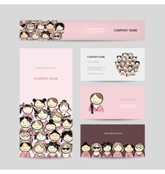 Business cards group of women sketch vector