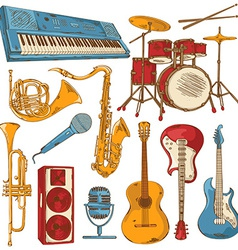 Set of isolated colorful musical instruments vector