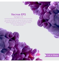 Violet swirling wetercolor ink in water vector