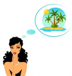 Girl in paradise vector