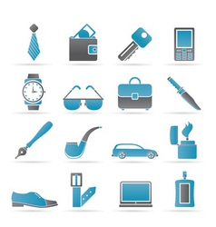 Man accessories icons vector