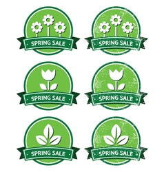 Spring sale retro green round labels - grunge vector