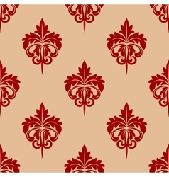 Red foliate seamless arabesque pattern vector