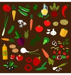 Ingredients of fresh vegetable salad vector