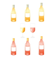 White wine bottles pack vector