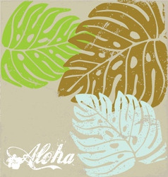 Hawaii text aloha background with hibiscus leave vector