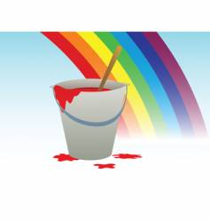Buckets with paint and rainbow vector