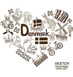 Danish symbols in heart shape concept vector