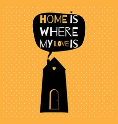 Romantic greeting card with quote about home and vector