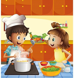 Kids cooking at the kitchen vector
