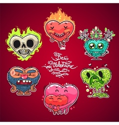 Cartoon valentine hearts set vector