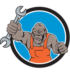 Angry gorilla mechanic spanner circle cartoon vector