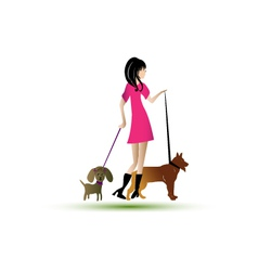 Lady walking dogs vector