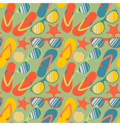 Seamless pattern with flip flops sunglasses and vector