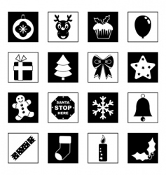 Black and white christmas icons vector