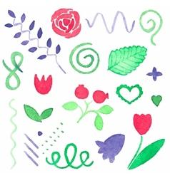 Watercolor set of floral design elements vector