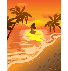 Beautiful sunset beach vector