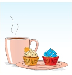 Afternoon snack with cupcakes vector